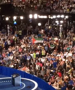 The Falestinian flag proudly on display at the DNC